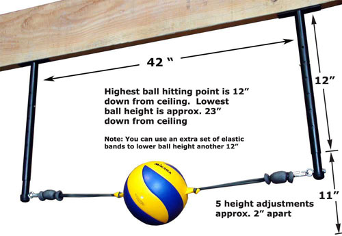 Volleyball Spike Trainer Model VST-500. Perfect your Volleyball hitting technique using the most cost-effective and durable Volleyball Spike Trainer on the market. Work on your Volleyball footwork, Volleyball Approach, Jump Technique, Volleyball Arm Swing, and Volleyball Contact.